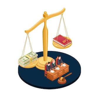 Geld oder gesetz vektor-illustration. isometrisches konzept für korrupte praktiken