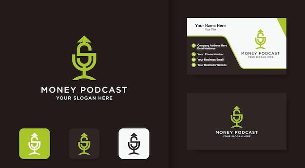 Geld-podcast-logo verwendet umriss und visitenkarte
