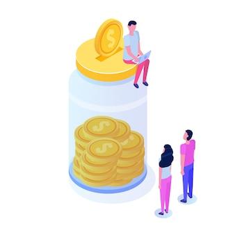 Geld sparen, dollarmünze im glas, erfolg finanzielles wachstum isometrisches konzept mit stapeln von goldenen münzen. illustration