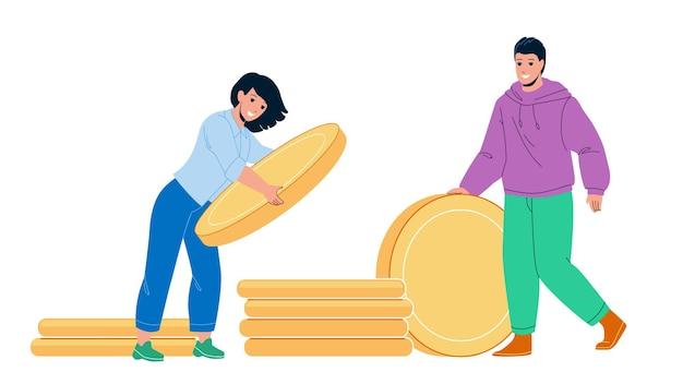 Geld sparen für haus kaufen junge familie vektor. mann und frau paar sparen geld für den kauf von immobilien oder urlaub zusammen. charaktere sammeln münzen finanzieren flache cartoon-illustration