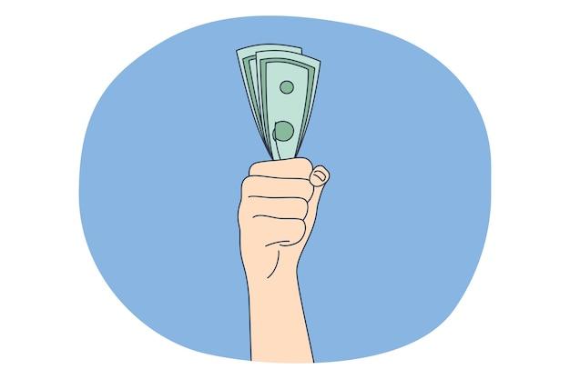Geld sparen, gewinn, verdienstkonzept. hände der person, die haufen des geldwährungsgeldes in der faust hält
