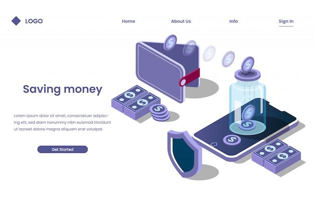 Geld sparen in einer bank mit einem digitalen prozess