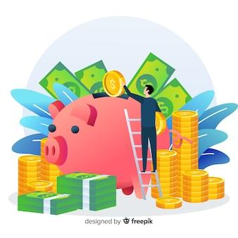 Geld sparen konzept hintergrund