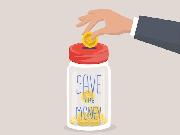 Geld sparen konzept vektorzeichen