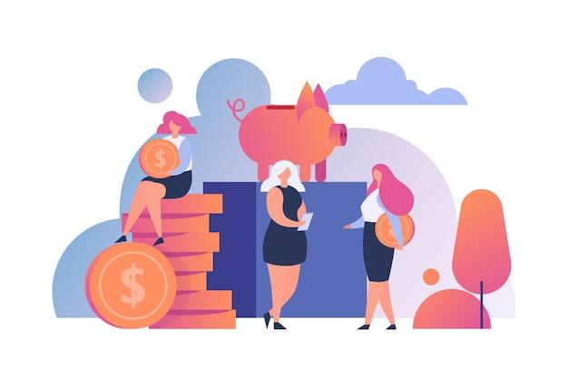 Geld sparen menschen. goldene münzen in sparschwein setzen. sparen sie geld, investitionen und wirtschaftlichkeit. bareinzahlung, budgetplanung. währungsfonds, monatliches einkommen.