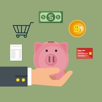 Geld sparen stellen icons