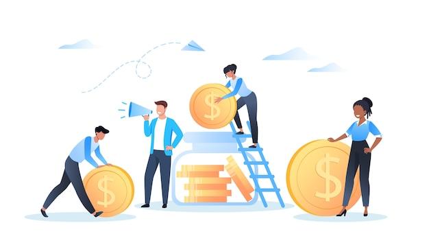 Geld sparen und investieren, mann steht mit einem megaphon, leute stapeln dollarmünzen in sparbüchse
