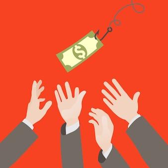 Geld süchtig und hände erreichen