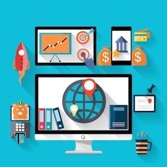 Geld- und bankikone stellte auf digitales gerät des monitors und des smartphone ein