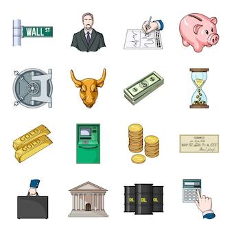 Geld und finanzen illustration. gesetzte ikone der finanzgeschäftskarikatur lokalisiertes gesetztes ikonengeld und -finanzierung der karikatur.