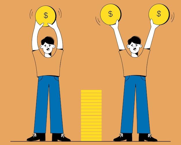 Geld verdienen, das kapital erhöht männer halten goldmünzen in der hand