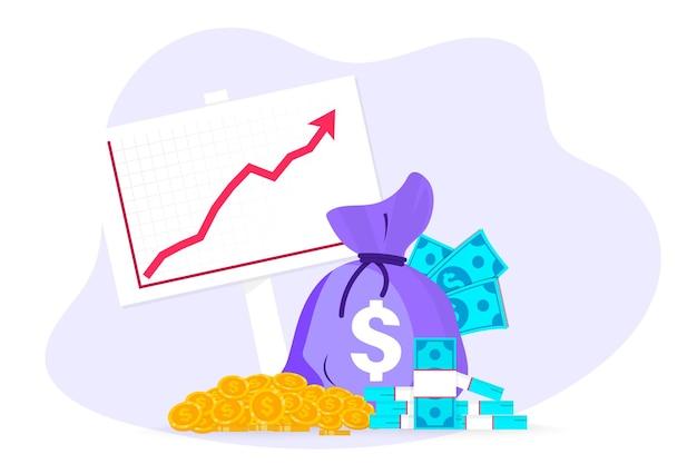 Geld verdienen. diagramm der wachstumsgewinne. haufen bargeld mit steigendem diagrammpfeil nach oben. geschäftserfolg, wirtschafts- oder marktwachstum, einnahmen aus kapitalanlagen, kapitalerträge, finanzwachstumsdiagramm