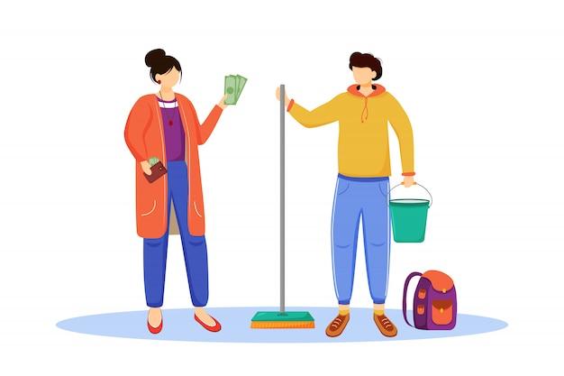 Geld verdienen flache illustration. immer bereit für die reise, urlaub. als reiniger arbeiten. arbeit für studenten, jugendliche. reisevorbereitungs-isolierte karikaturfigur auf weißem hintergrund