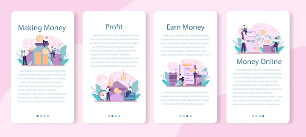 Geld verdienen mobile application banner set. idee der geschäftsentwicklung und investition.