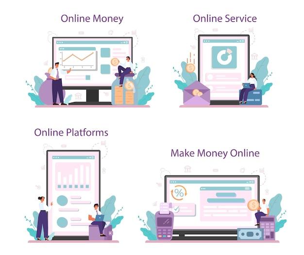 Geld verdienen online-service oder plattform-set. idee der geschäftsentwicklung und investition.