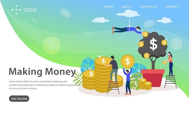 Geld verdienen, websitevektorillustration