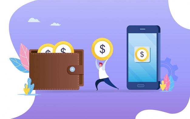 Geld vom smartphone zur brieftasche überweisen.