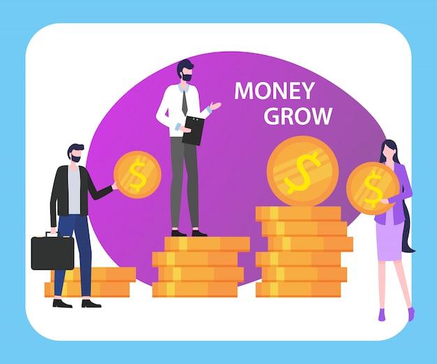 Geld wachsen leute-mann-frau mit münzen-stapel-vektor-illustration.