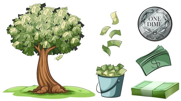 Geld wächst auf bäumen und verschiedenen arten von geld