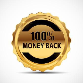 Geld-zurück-garantie goldschild, etikett