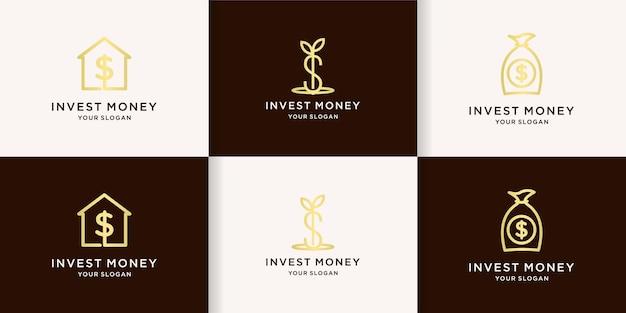 Geldanlagelogo mit linienkonzept