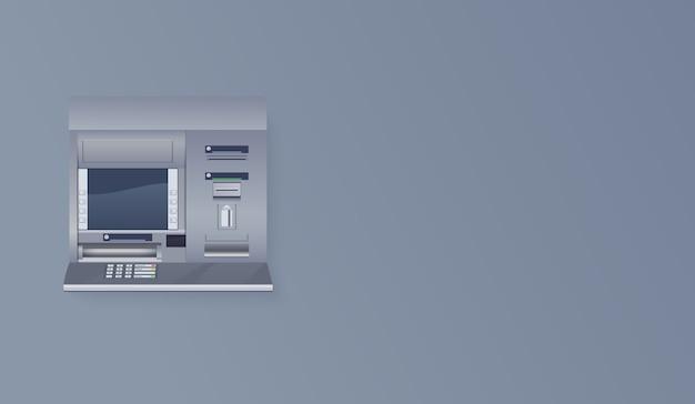 Geldautomat an leerer wand. realistische darstellung des geldautomaten