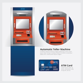 Geldautomat atm mit atm-karten-vektor-illustration