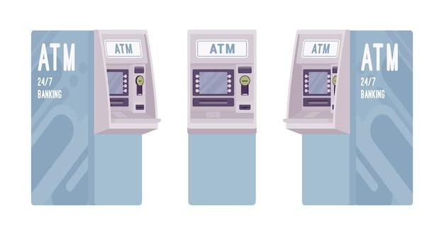 Geldautomat in hellblauer farbe