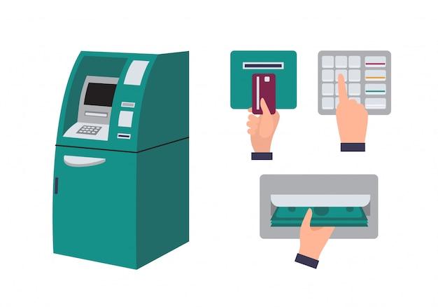 Geldautomat und hand, die die kreditkarte in den geldautomaten einstecken