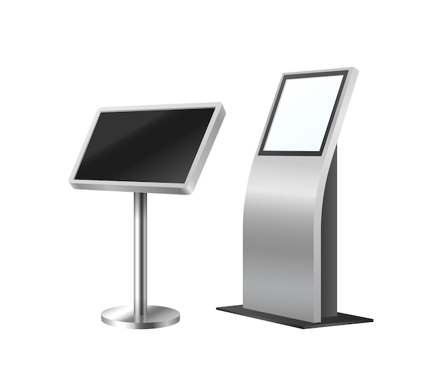 Geldautomat und selbstbestellkiosk. digitale terminalsysteme eingestellt. realistische moderne zahlungsausrüstung für das 3d-modell der kundenbestellung. vektor-illustration
