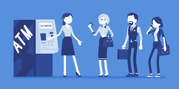 Geldautomaten und weibliche assistentin helfen kunden
