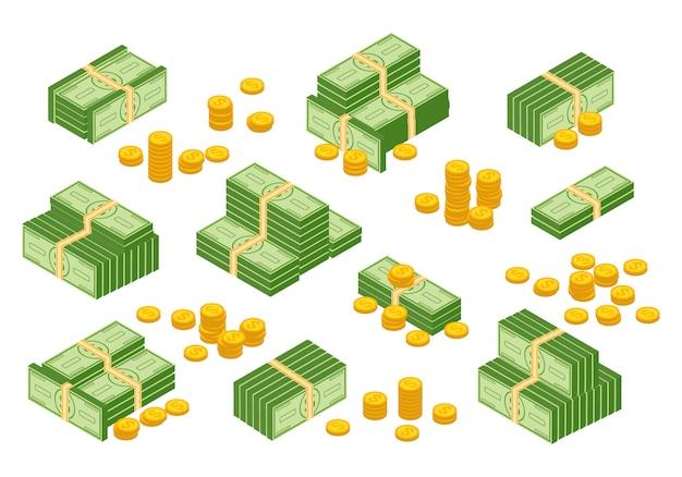 Geldbargeldhaufen, dollar, bargeldpapierbanknoten, goldmünzen