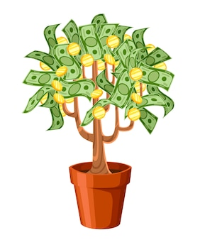 Geldbaum. grüne geldbanknoten mit goldenen münzen. baum in einem keramiktopf. illustration auf weißem hintergrund. website-seite und mobile app.