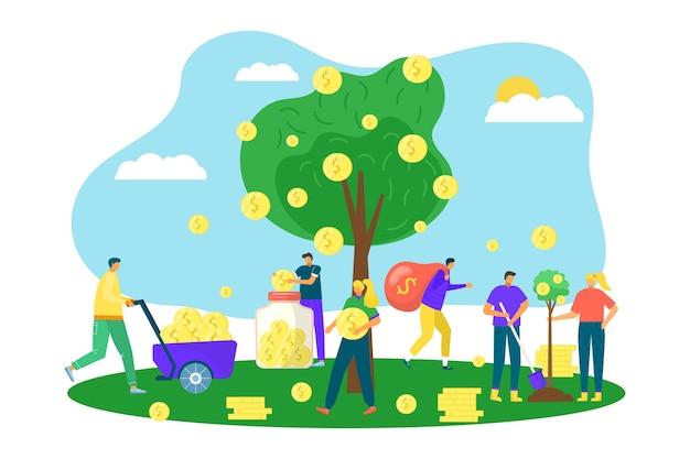 Geldbaum mit goldenen münzen, finanzielles wachstum im geschäft, investitionskonzept, illustration. vermögenssymbol, baum mit geld-dollar-währung anstelle von blättern. markterfolg, wirtschaftlichkeit.