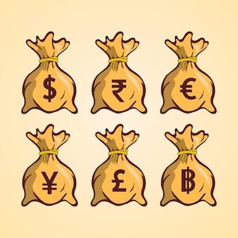 Geldbeutel mit verschiedenen währungssymbolen farbvektorillustration