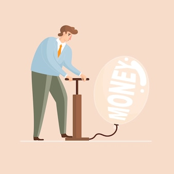 Geldblasen mann bläst einen ballon vektor-illustration auf