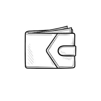 Geldbörse mit geld handgezeichneten umriss doodle-symbol. bargeld, zahlung, finanzen, geschäft, bank, reichtum, konzept. vektorskizzenillustration für print, web, mobile und infografiken auf weißem hintergrund.