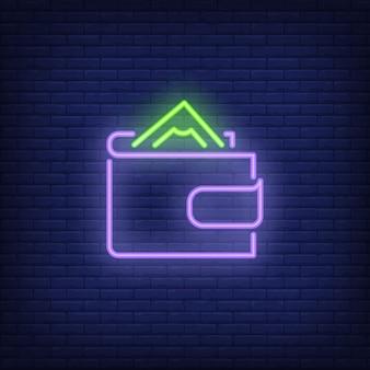 Geldbörse mit geld leuchtreklame