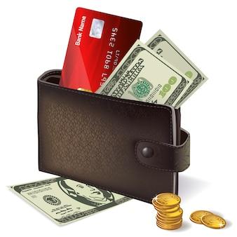 Geldbörse mit kreditkartenbanknoten und -münzen