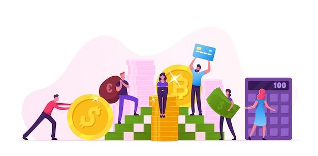 Geldeinsparungen, investitionen und finanzwachstum geschäftskonzept. menschen sammeln münzen und banknoten in riesigem haufen und zählen auf dem rechner. bank, finanzvermögen, karikatur, flache, vektor, illustration