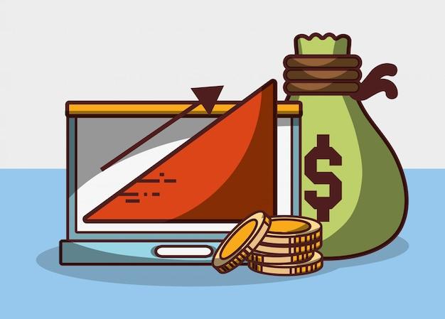 Geldgeschäft finanzielle laptoptasche geldmünzen grafik gewinn