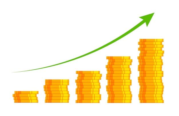 Geldgewinn finanzielles wachstumskonzept mit stapel von goldmünzen geschäftserfolg kapitalerträge
