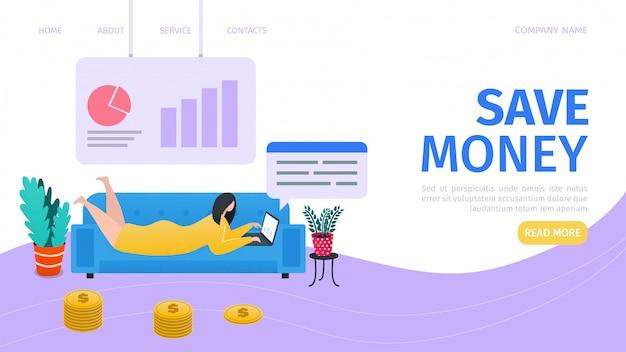 Geldinvestitions-landingpage, illustration. investieren sie geld in bildung, immobilien, start-up und wohltätigkeit. frau, die mit laptop, finanzgraphen und bankensymbolen arbeitet. profit und wirtschaft.