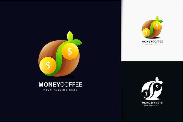 Geldkaffee-logo-design mit farbverlauf