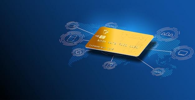 Geldkartentransfers und finanztransaktionen. kreditkartenhintergrund