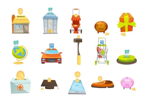 Geldkasten lokalisierte die eingestellten ikonen