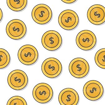 Geldmünze nahtloses muster auf einem weißen hintergrund. goldmünzen-symbol-vektor-illustration