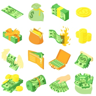 Geldmünzendollarikonen eingestellt. isometrische illustration von 16 geldmünzendollar-vektorikonen für netz
