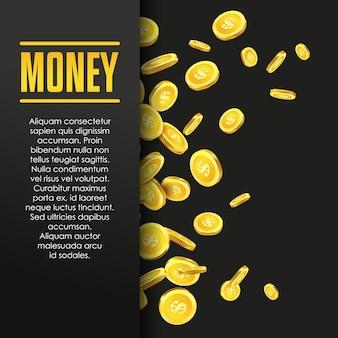 Geldplakat- oder fahnendesignschablone mit goldenen münzen und kopienraum für text. vektor-illustration geld machen. bankdepot. finanzkennzahlen gold und schwarz. business finans vektor hintergrund.