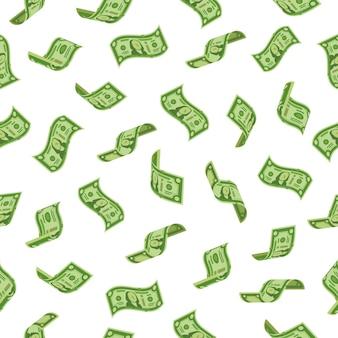 Geldregen. fallende dollarbezeichnungen, bargeldbanknoten regnend.